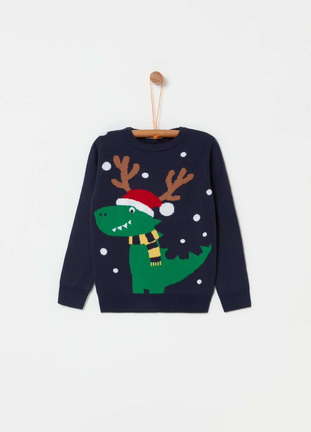 Crew-neck top with dinosaur design