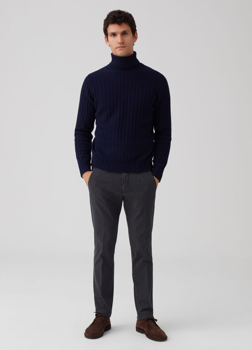 Rumford stretch herringbone trousers