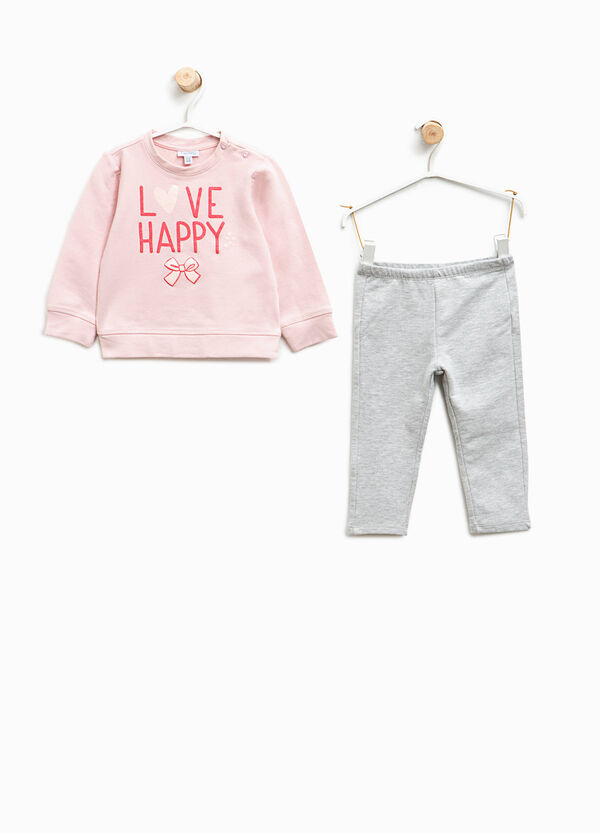 Tracksuit in stretch cotton with printed lettering   OVS