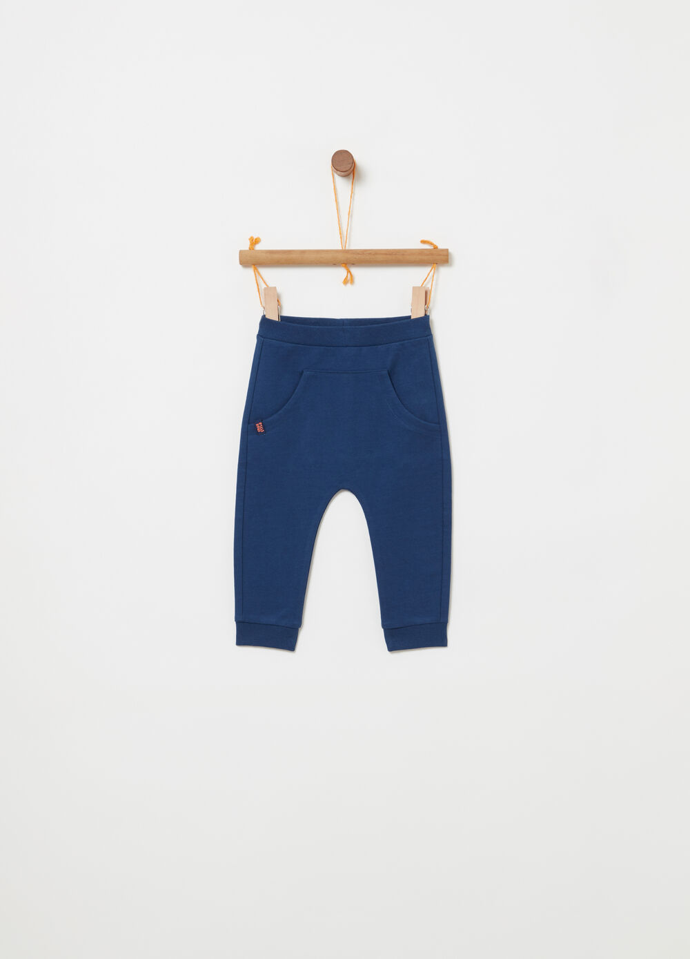 French terry trousers with pouch pocket