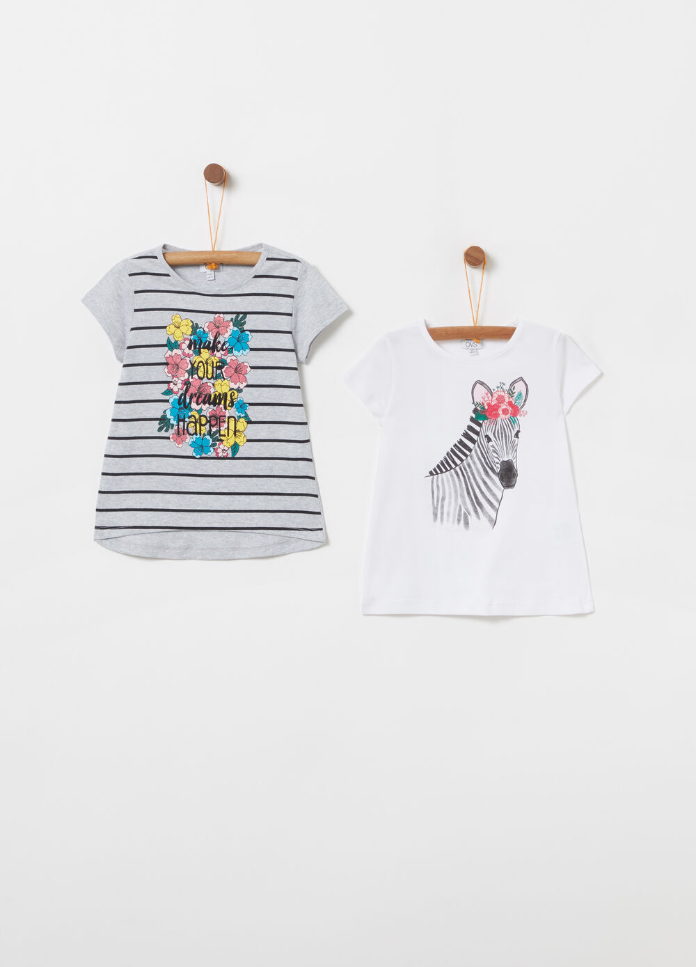 Two-pack cotton T-shirt with print and glitter