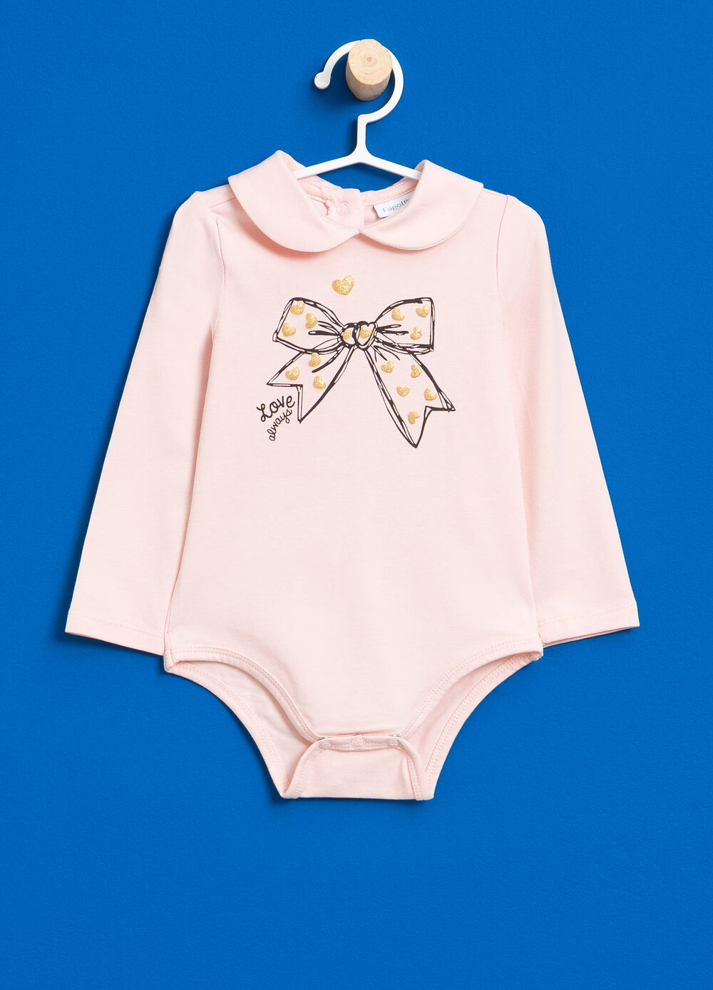 Stretch cotton bodysuit with glitter print