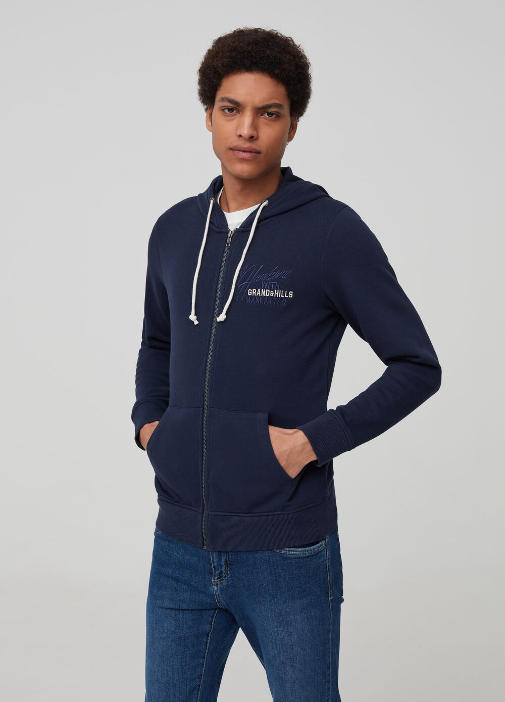 Sweatshirt with lettering embroidery