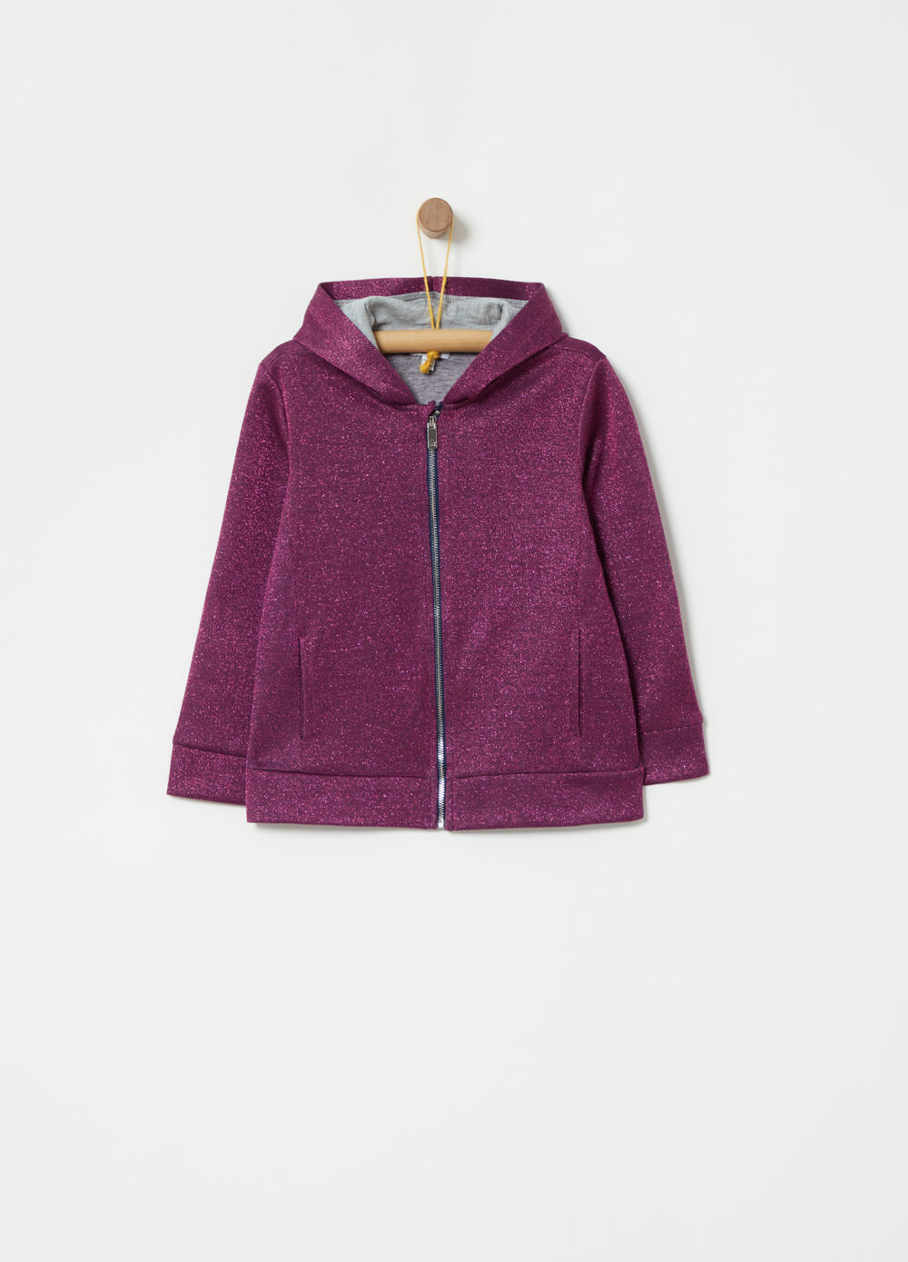 Sweatshirt with lurex and zip fastening