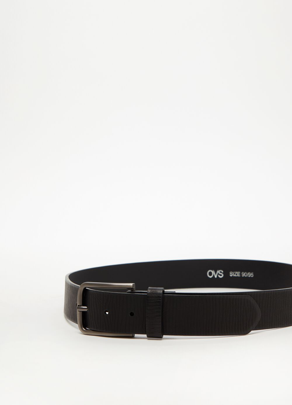 Leather-look belt with striped weave
