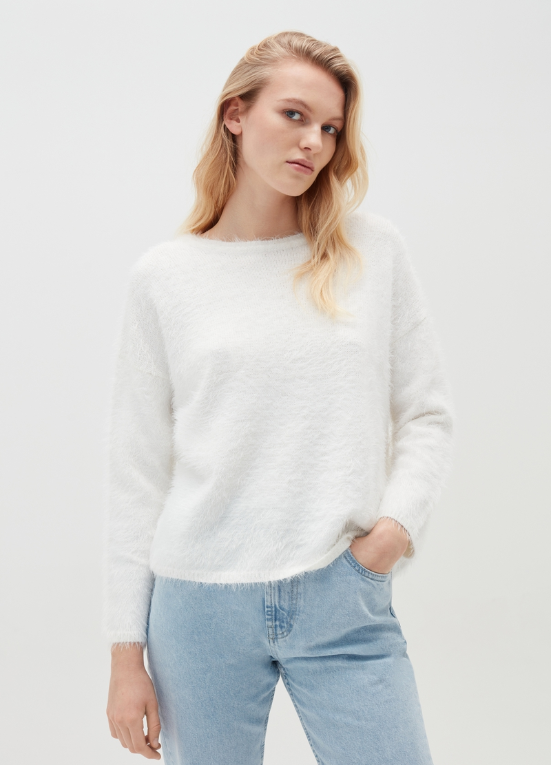 Fur-effect pullover with round neck image number null