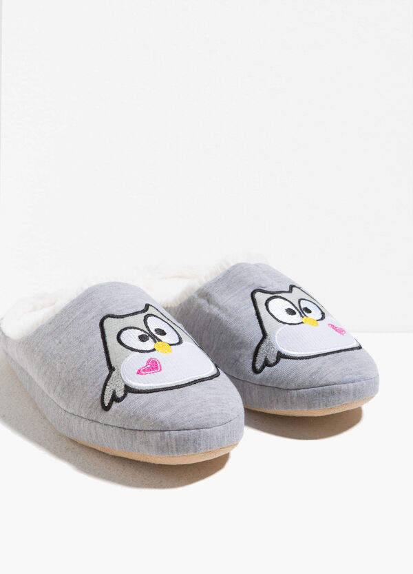 Fur slippers with patches | OVS
