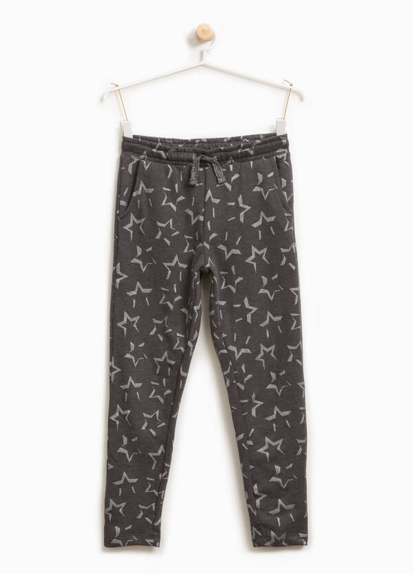Cotton blend trousers with star print | OVS