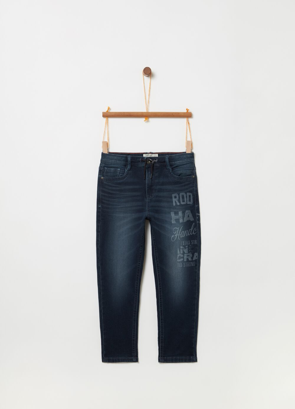 Washed-effect tapered-fit stretch jeans