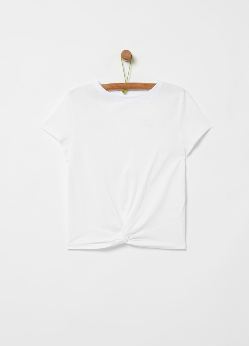 Viscose and cotton T-shirt with knot