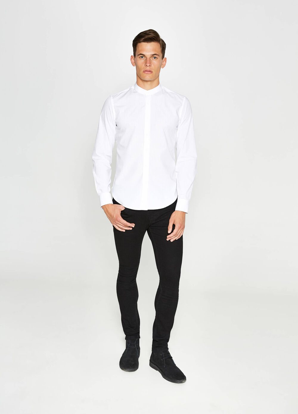 Casual cotton shirt with mandarin collar