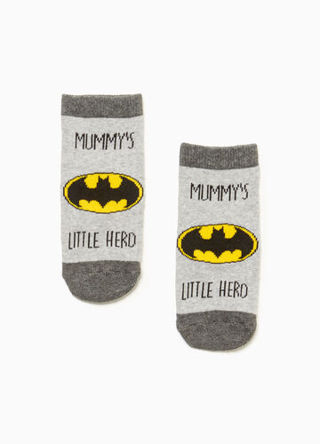 Slipper socks with Batman motif embroidery