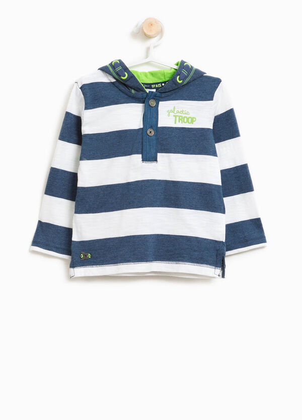 100% cotton striped T-shirt with printed lettering | OVS
