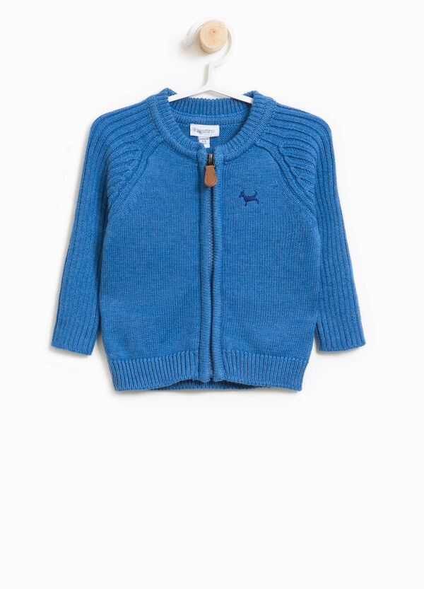 Cotton blend cardigan with zip