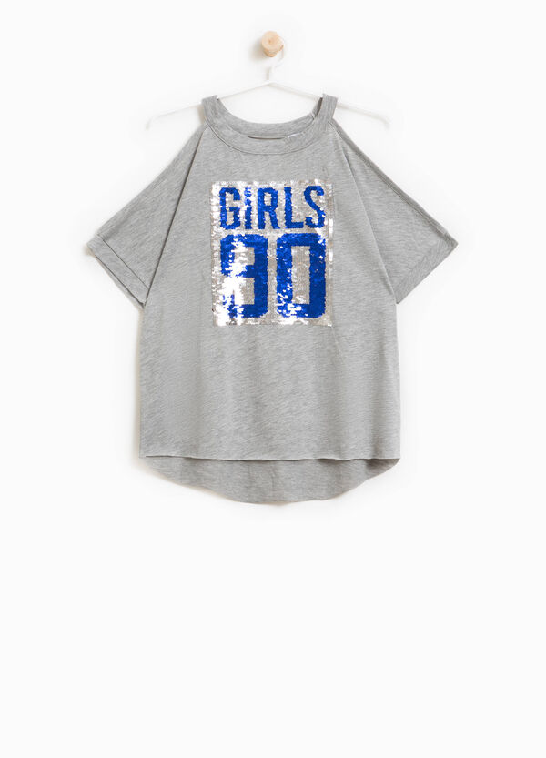 100% cotton T-shirt with lettering sequins | OVS