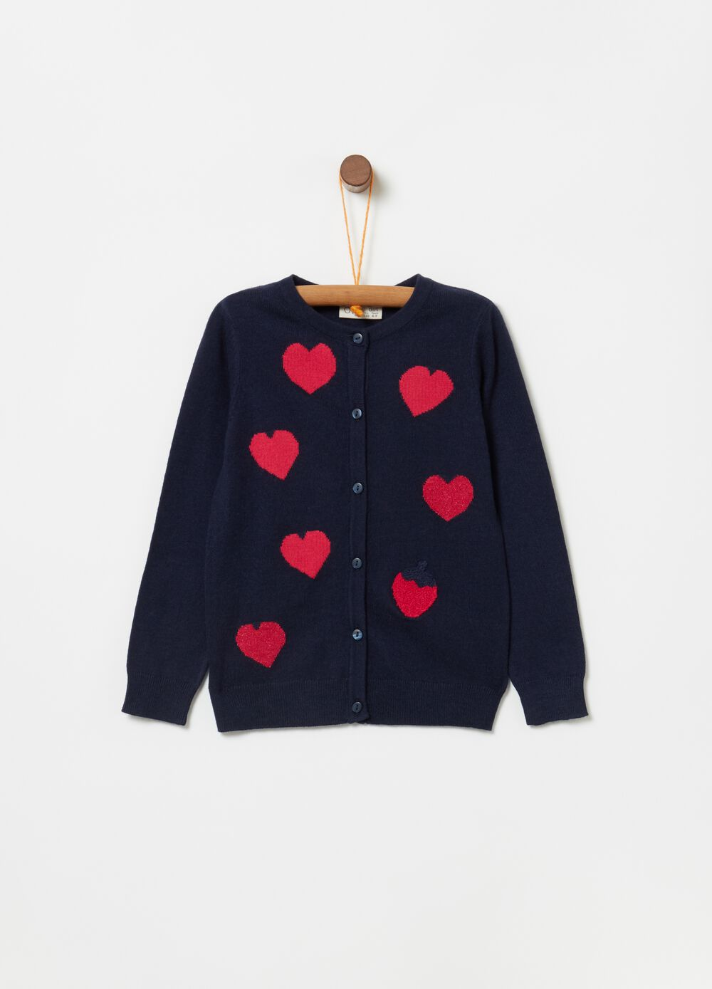 Knit cardigan with hearts