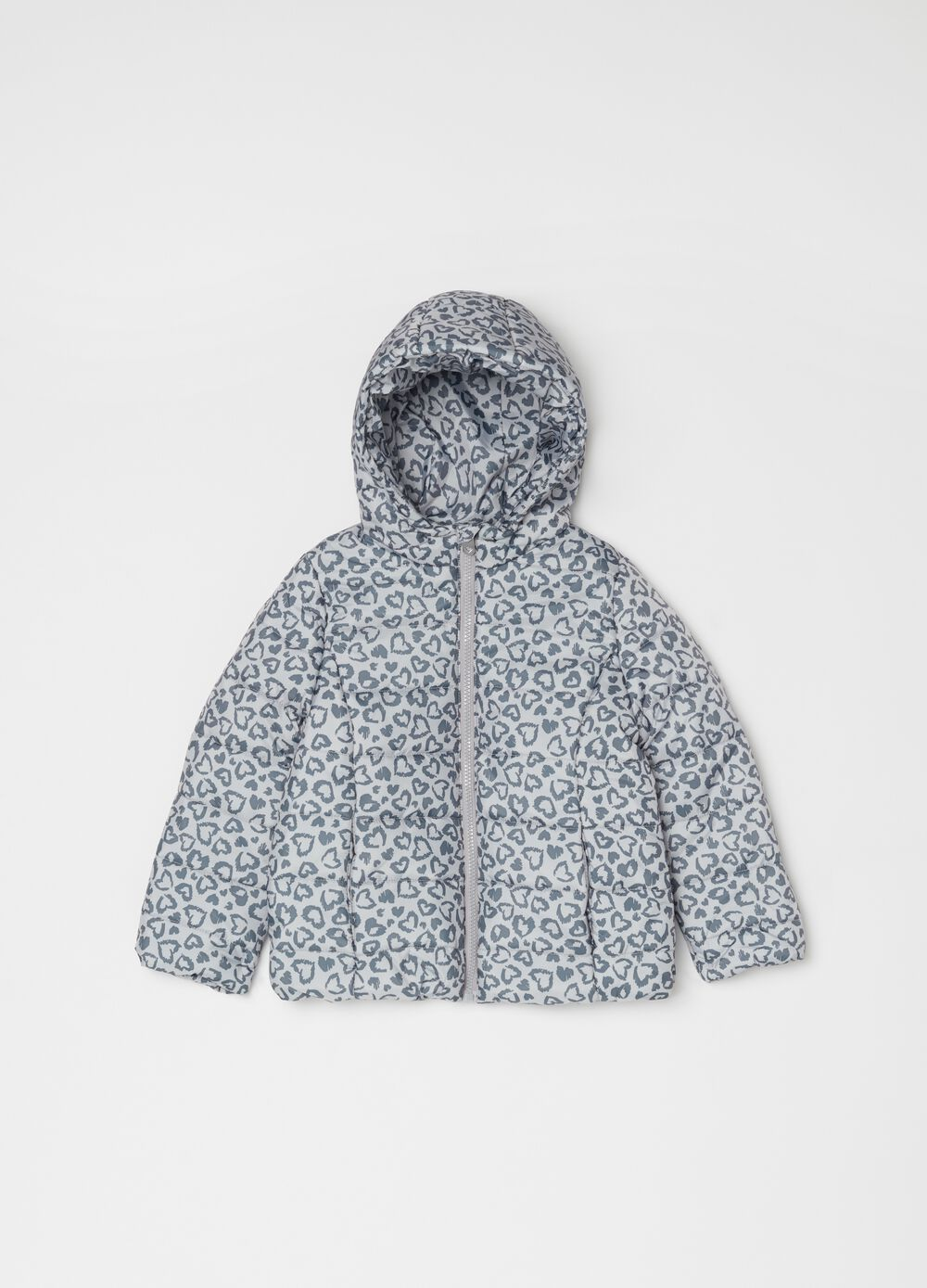 Jacket with hood and hearts print