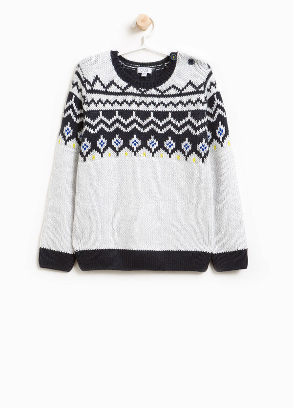 Knit pullover with geometric embroidery