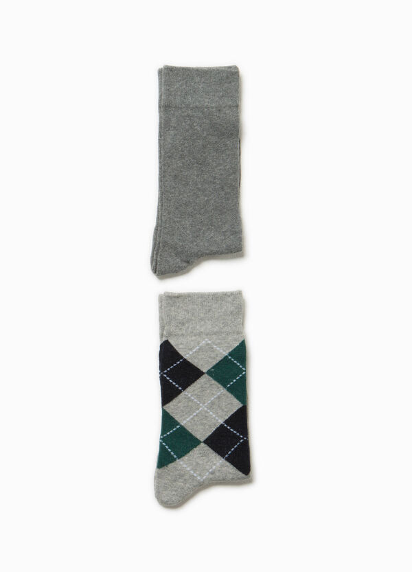 Two-pair pack solid colour and check socks