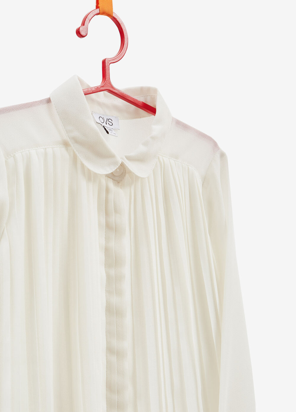 Pleated solid colour shirt