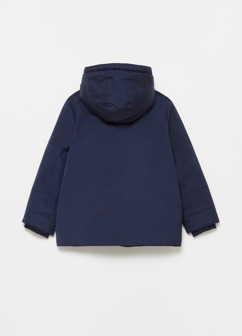 Long jacket with hood and pockets image number null