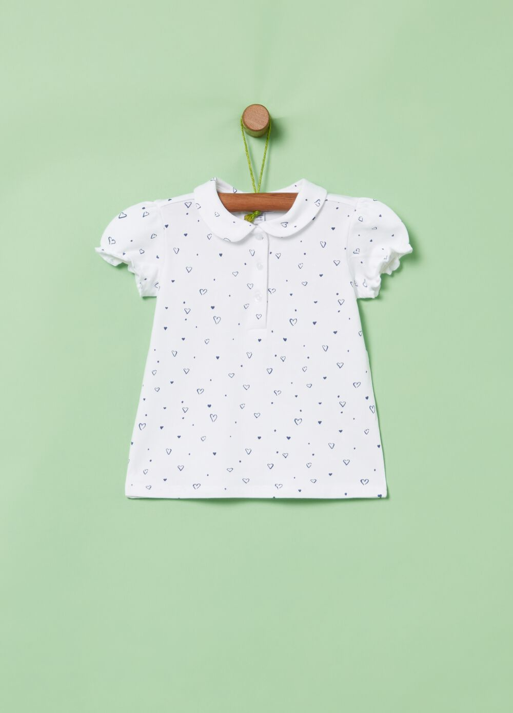 Patterned polo shirt in stretch organic cotton