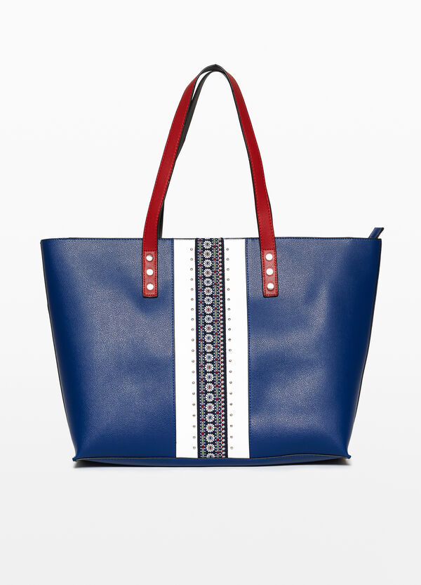 Shopping bag with trim and studs