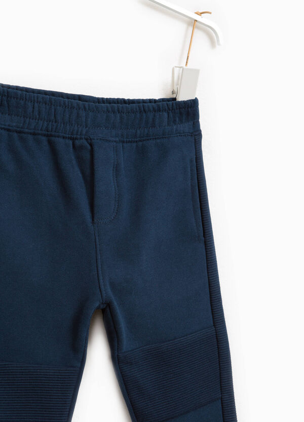 Cotton joggers with ribbing