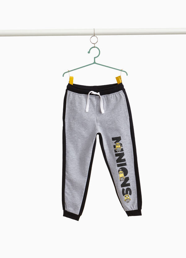 Cotton mélange joggers with Minions print