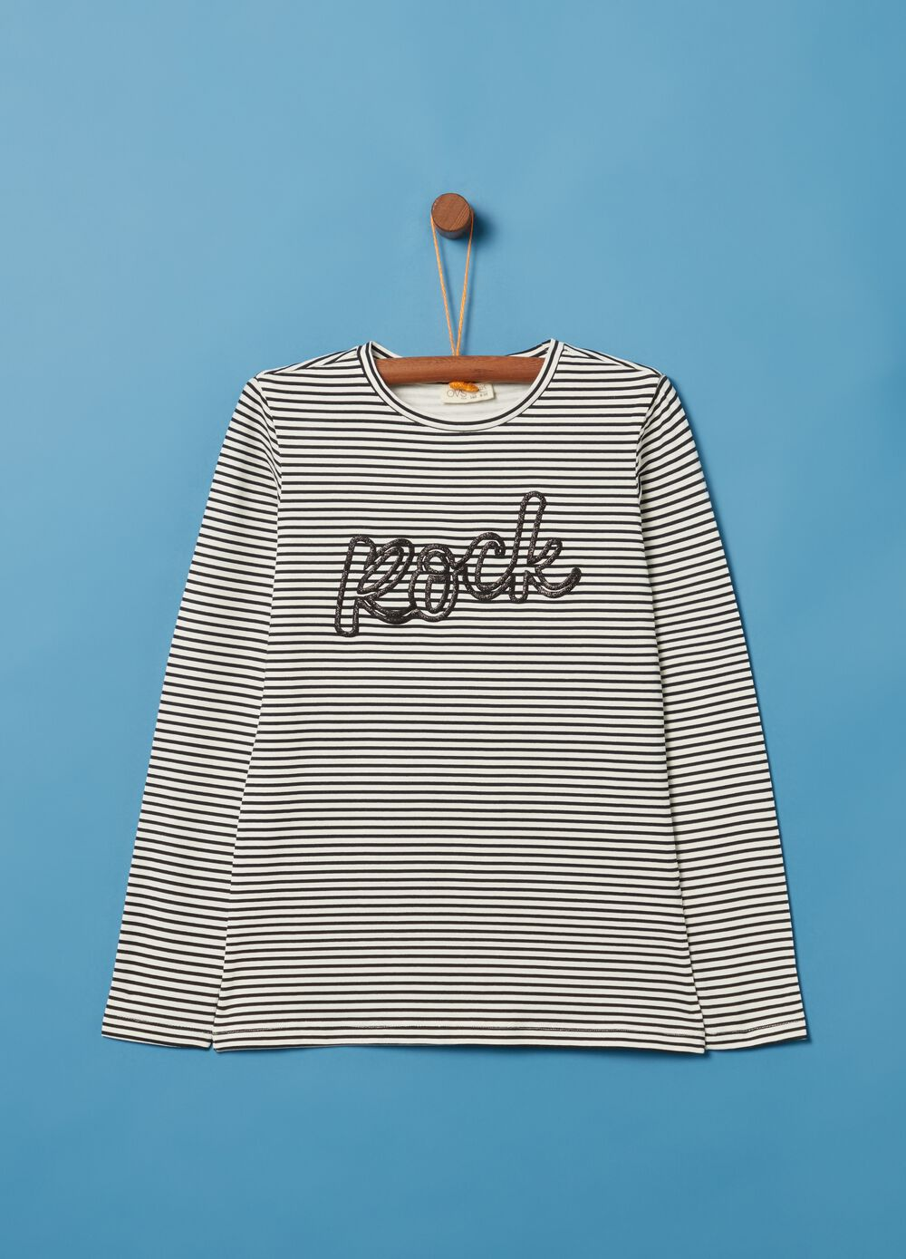 T-shirt with glitter and striped pattern