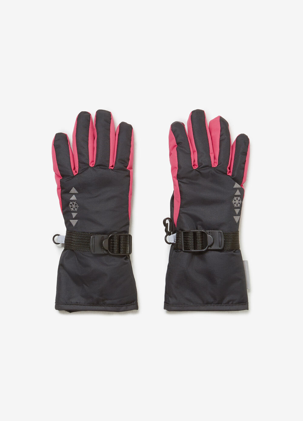 Snow gloves with adjustable fastening
