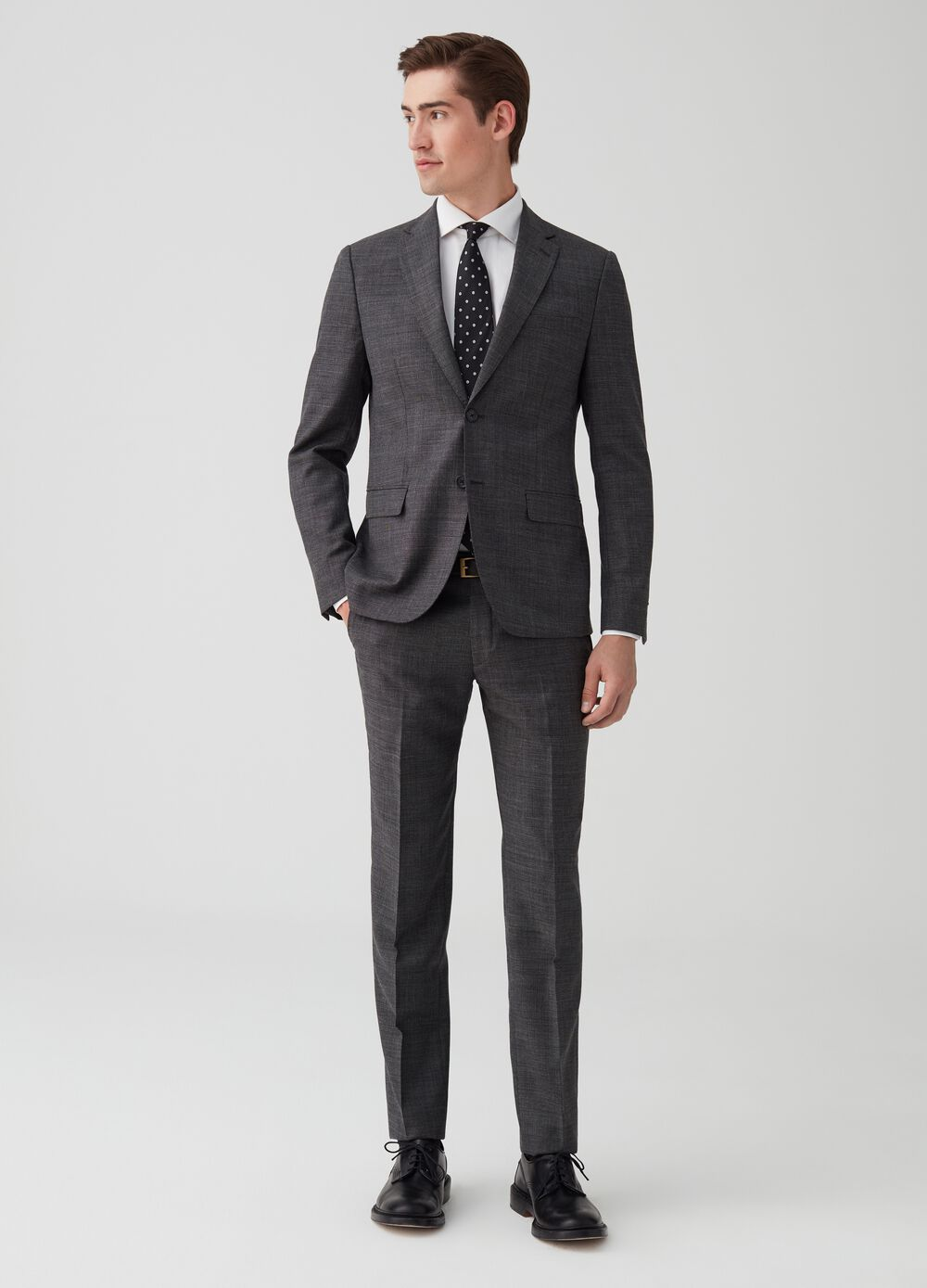Regular-fit wool suit with jacket and trousers