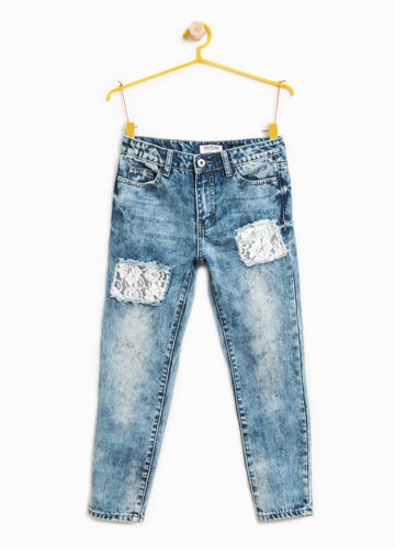 Used-effect jeans with rips and lace