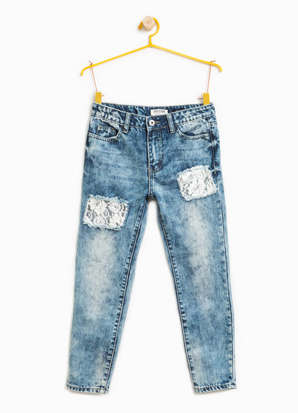 Used-effect jeans with rips and lace | OVS