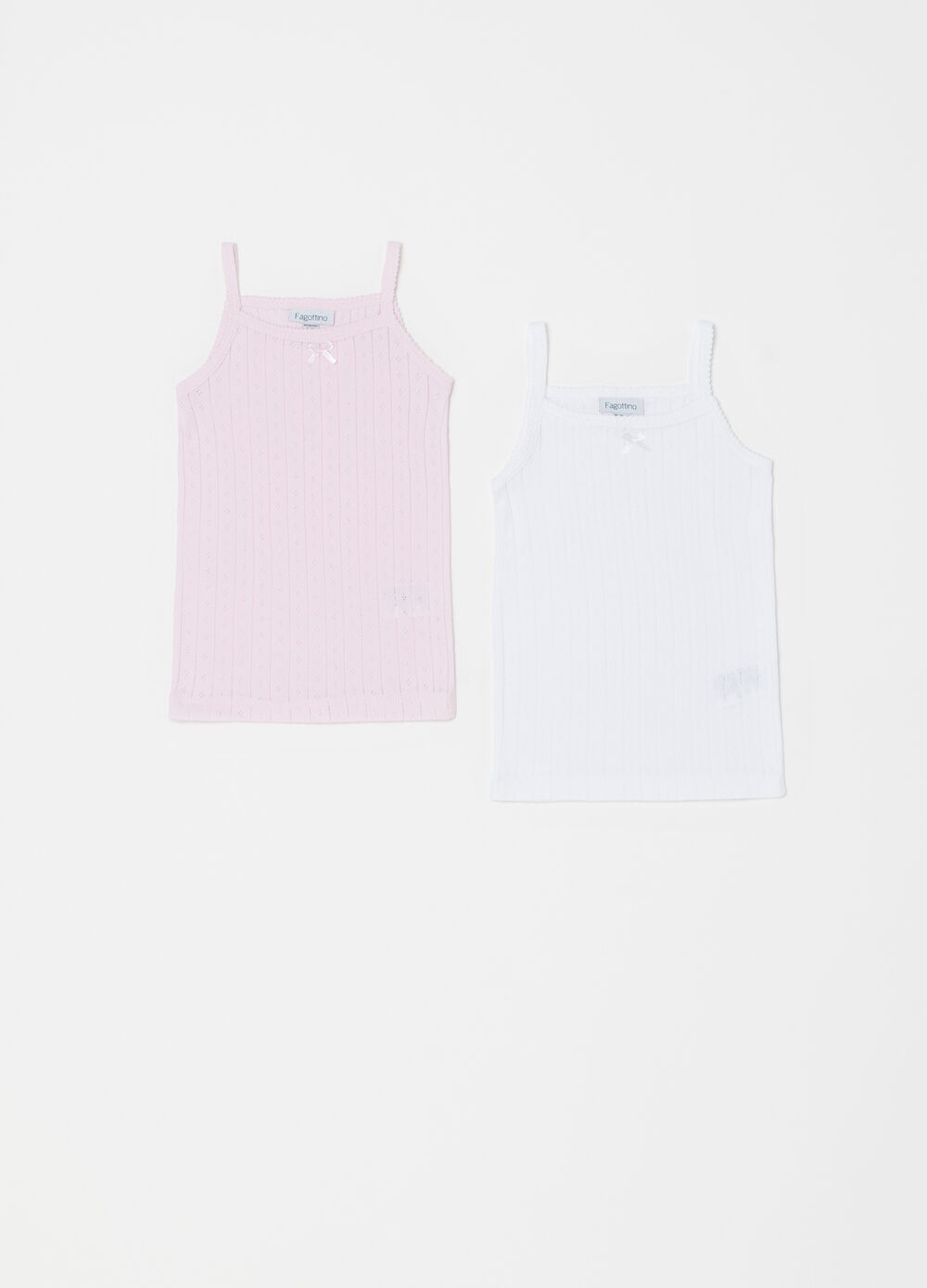 Two-pack vests in 100% cotton jacquard
