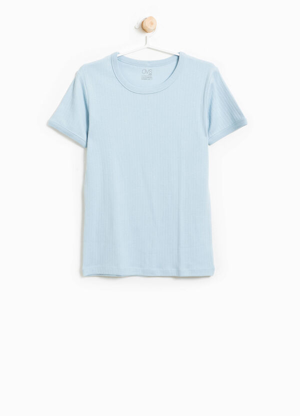 Ribbed cotton blend T-shirt