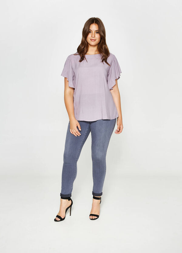 Curvy blouse in viscose with wide sleeves   OVS