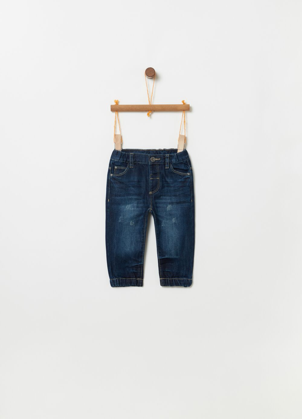Regular-fit jeans with misdyed effect