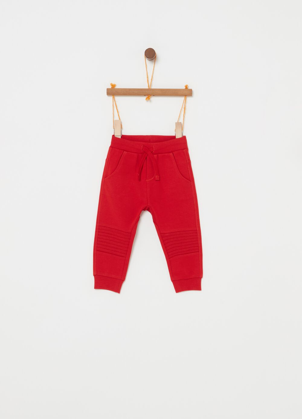 Trousers in 100% cotton fleece with stitching