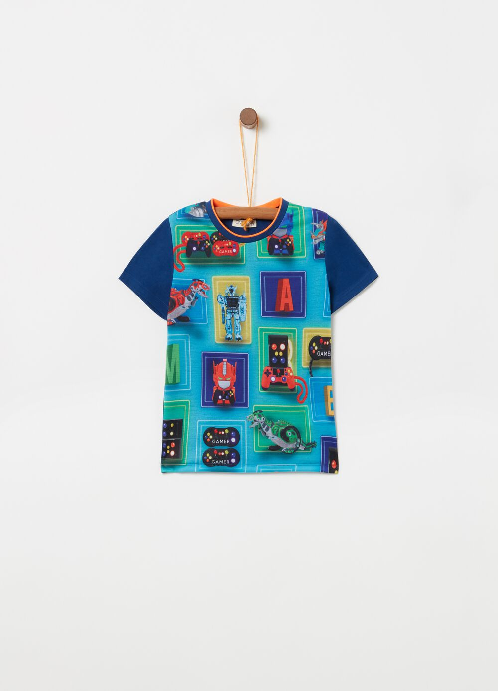 Cotton T-shirt with maxi videogame print