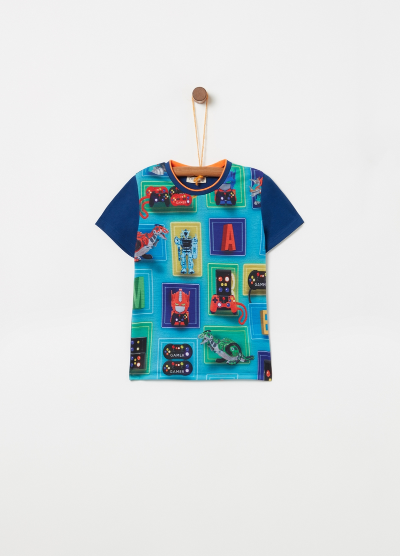 Cotton T-shirt with maxi videogame print image number null