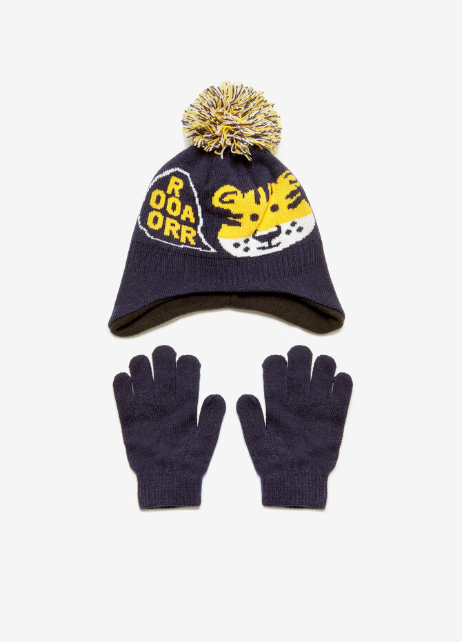 Hat and gloves set with tiger print
