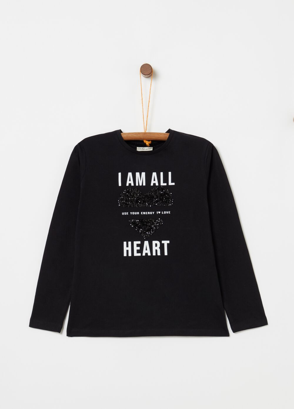 Long-sleeved T-shirt with sequins