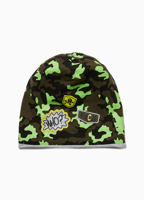 Camouflage beanie cap with patches