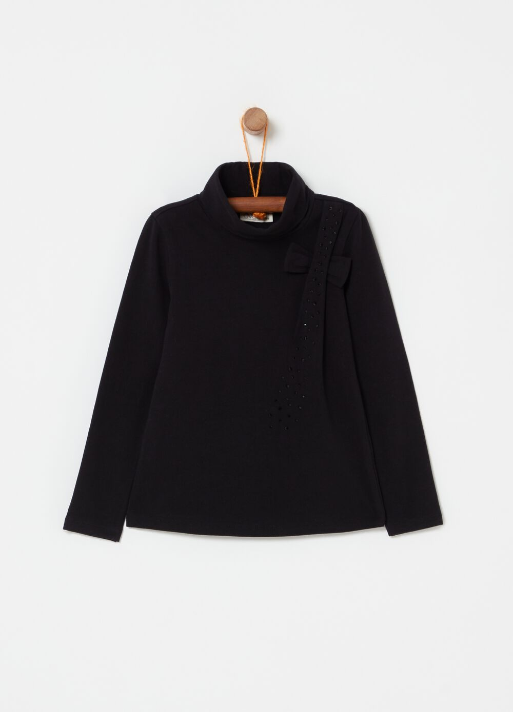High-neck T-shirt with studs