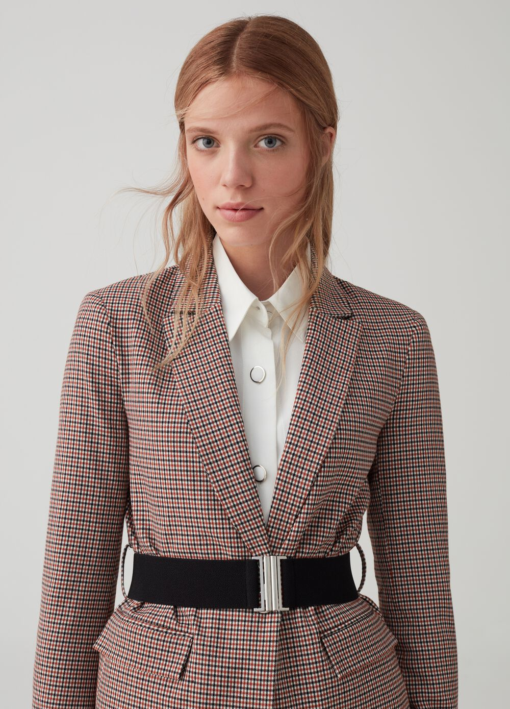 Blazer with micro-check pattern and belt