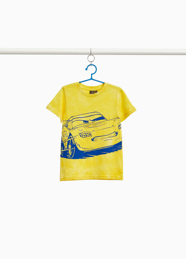 Mis-dyed T-shirt in 100% cotton with Cars print