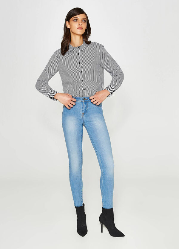 Solid colour stretch push-up jeans | OVS