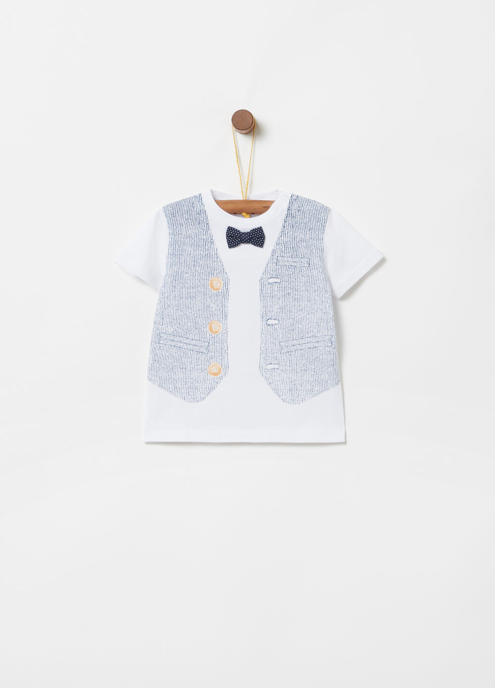 T-shirt with bow and gilet print