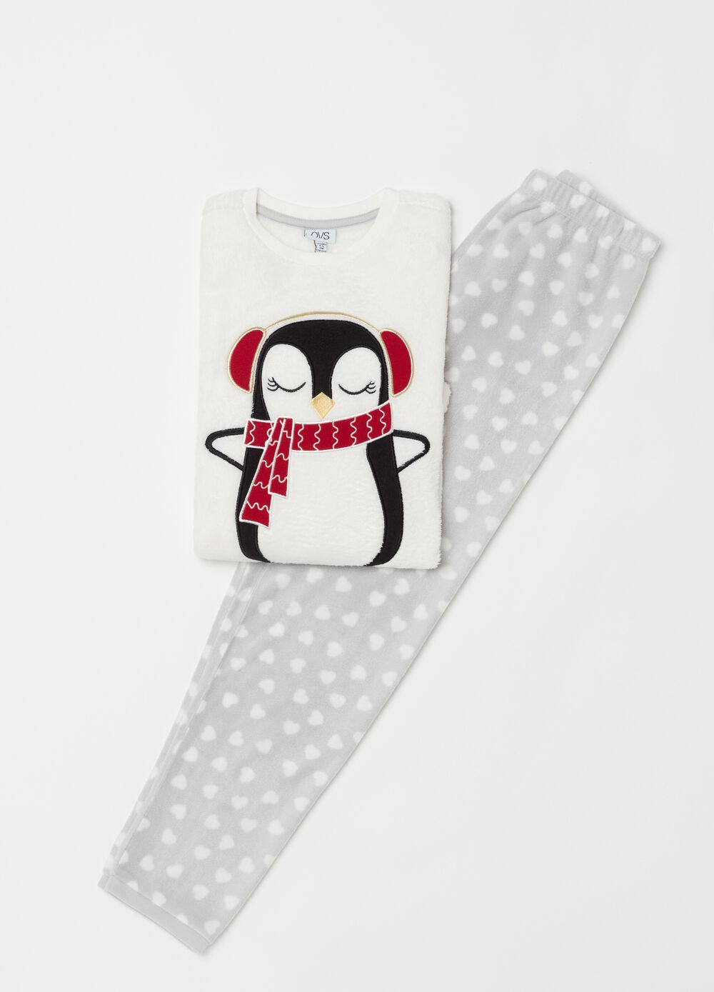 Long chenille-effect pyjamas with penguin